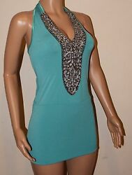 Vicky Martin Turquoise Green Blue Fitted Bodycon Sequin Mini Dress 8 10 Bnwt