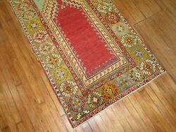 Antique Gorgeous Turkish Oushak Ushak Prayer Rug Size 3and0393and039and039x5and0398and039and039