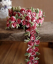 3 4quot; Vintage Red Rose Floral Embroidered Crochet Lace Trim Ribbon 5 yards $13.99