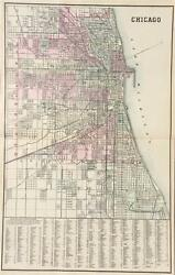 Antique Map Of Chicago - Mitchell's Atlas Of The World C. 1881
