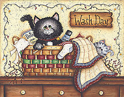 Art Print Framed Or Plaque By Mary Ann June - Wash Day - Mary96-r