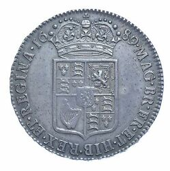 1689 Halfcrown British Silver Coin From William And Mary Aef