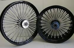Black Mammoth Fat 52 Spoke Wheels Harley 21x2.15 And 18x5.5 For 2006+ Softail