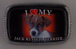 I Love My JACK RUSSELL TERRIER Antique Silver Belt Buckle USA MADE