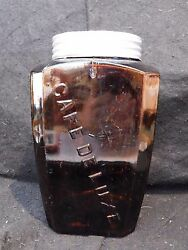 Antique Acker Merrall And Condit Ny Amber Glass Cafe De Luxe Canister Coffee Jar
