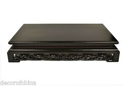 Chinese Rectangle Carved Display Plant Vase Stand Home Decor 14-1/4w 8-1/4d
