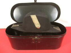 Wwii Us Navy Usn Officer's Fore And Aft Cap In Japan Tin Metal Storage Box - Nice