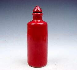 Antique Monochrome Ox-blood Red Porcelain Tube Shaped Snuff Bottle 07141705