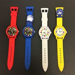 Geneva Blue,red,white,yellow Silicone Band,colorful Marker,water Resistant Watch