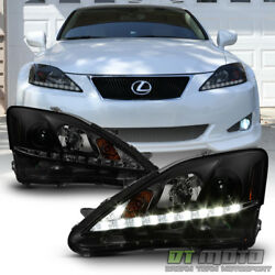 For Black Smoke 2006 2010 Lexus IS250 IS350 LED DRL Strip Projector Headlights