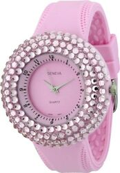 New Geneva Light Pink Silicone With Crystals Around Dial Watch