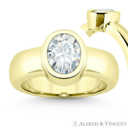Forever Classic Oval Cut Moissanite Solitaire Engagement Ring In 14k Yellow Gold