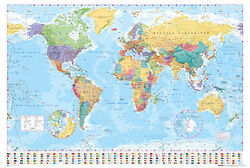 World Map Poster 24x36 With Choice of Rolled Frame or Plaque