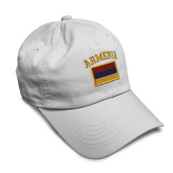 Soft Women Baseball Cap Armenia Flag Embroidery Dad Hats for Men Buckle Closure $14.99
