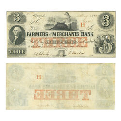 Obsolete Currency Farmers And Merchants Bank Of Memphis Tennessee 3 1854 Very Fi
