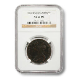 1865/3 Great Britain Victoria Penny Au-50-bn Ngc Encapsulated Bronze Coin