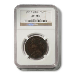 Great Britain Victoria Penny 1865 K-749.2 Toothed Border Ngc Xf 40 Bn