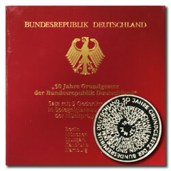 Germany Bundes Rep Constitution 10 Mark 1999 A-d-f-g-j 5 Proof Silver Coin Folde