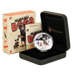 Tuvalu Working Dogs Australian Cattle Dog 1 2011 Proof Silver Crown Perth Case