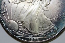 One Key Date Green And Blue Rim Toned 1996 American Silver Eagle Se-1996-6
