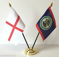 England And Belize Double Friendship Table Flag Set Choice Of Base