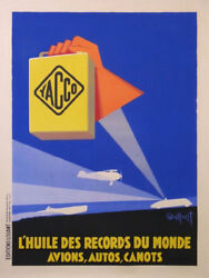 Vaillant Yacco Wolrd Records Oil For Race Car , Boat, Plane Vintage Poster 1930