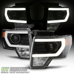 NEW Black 2009 2014 Ford F150 Raptor LED Tube DRL Projector Headlights Headlamps