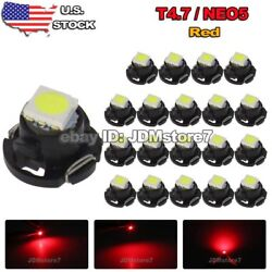 20x Red T5 T4.7 Neo Wedge Led for A/C Climate Heater Control Bulbs Lamp Light