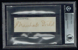 Marshall Field D 1906 Signed Autograph 1x3 Cut Department Store Founder Bas Slab