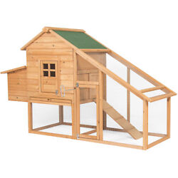 BCP 75in Backyard Wooden Chicken Coop Poultry Nest Box Hen House- NaturalGreen