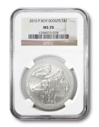 United States Boy Scouts Commemorative 1 2010p Ngc Ms70