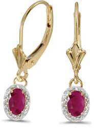 14k Yellow Gold Oval Ruby And Diamond Leverback Earrings E3461x-07