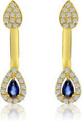 14K White Gold Pear-Shaped Sapphire Double Diamond Earrings