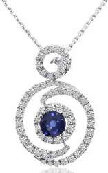 14k White Gold Round Diamond And Sapphire Fashion Pendant Chain Not Included