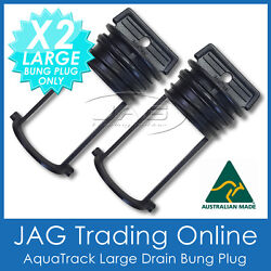 2 X Aquatrack Black Large Replacement Bungs Only - Boat Drain Bung Plugs Coarse