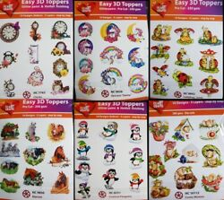 Easy 3d Die Cut Card Toppers Clock Unicorn Lady Bug Horse Penguin Mice10 Designs