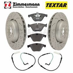 For Bmw E90 M3 2008-2013 Set Of 2 Drilled Vented Brake Rotors+pads And Sensors