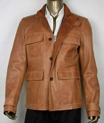 4700 New Authentic Men's Light Brown Leather Jacket Size It 54 / Us 44