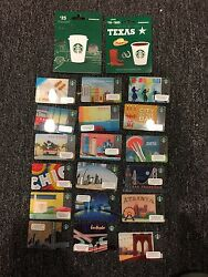 20 Usa Starbucks Coffee City Card Lot Gift Cards 2011, 12, 13, 14 No Value