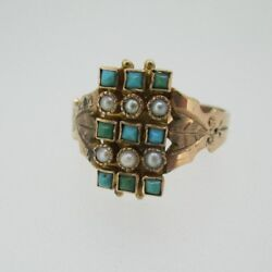Vintage 1800's 10k Rose Gold Seed Pearl And Turquoise Ring Size 6 1/4