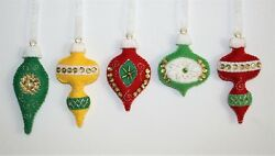 Christmas Ornament Felt Embroidery Kit Vintage Style Old Times Bright  Makes 5