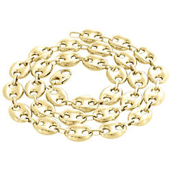 Real 10k Yellow Gold 3d Hollow Puff Link Chain 12mm Necklace 22-30 Inches