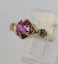 Antique Victorian Late 1800's 14k Yellow Gold Ring W/fushia Colored Stone S 6.25