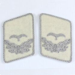 Luftwaffe Hg Division Leutnant Collar Tabs - White - Ww2 Repro Badge Patch New