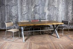 9ft Galvanised Dining Table Industrial Style X Frame Table With Pine Top