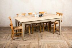 Handmade 8ft Dutch Style Farmhouse Kitchen Table In Bleached Pine The Boden