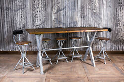 9ft Galvanised Steel Bar Table Industrial Style X Frame Poseur Table