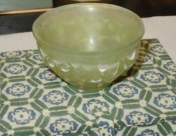 Small Chinese Translucent Celadon Green Carved Jade Bowl Cup In Original Box