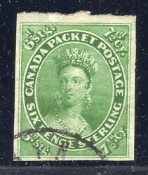 Canada Stamp 9 — 7 1/2p Queen - W/ Cert - 1857 - Used