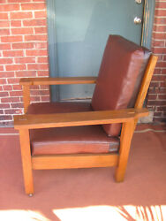 Mission Oak Stickley Brothers Large Arm Chair/leather 703 Original